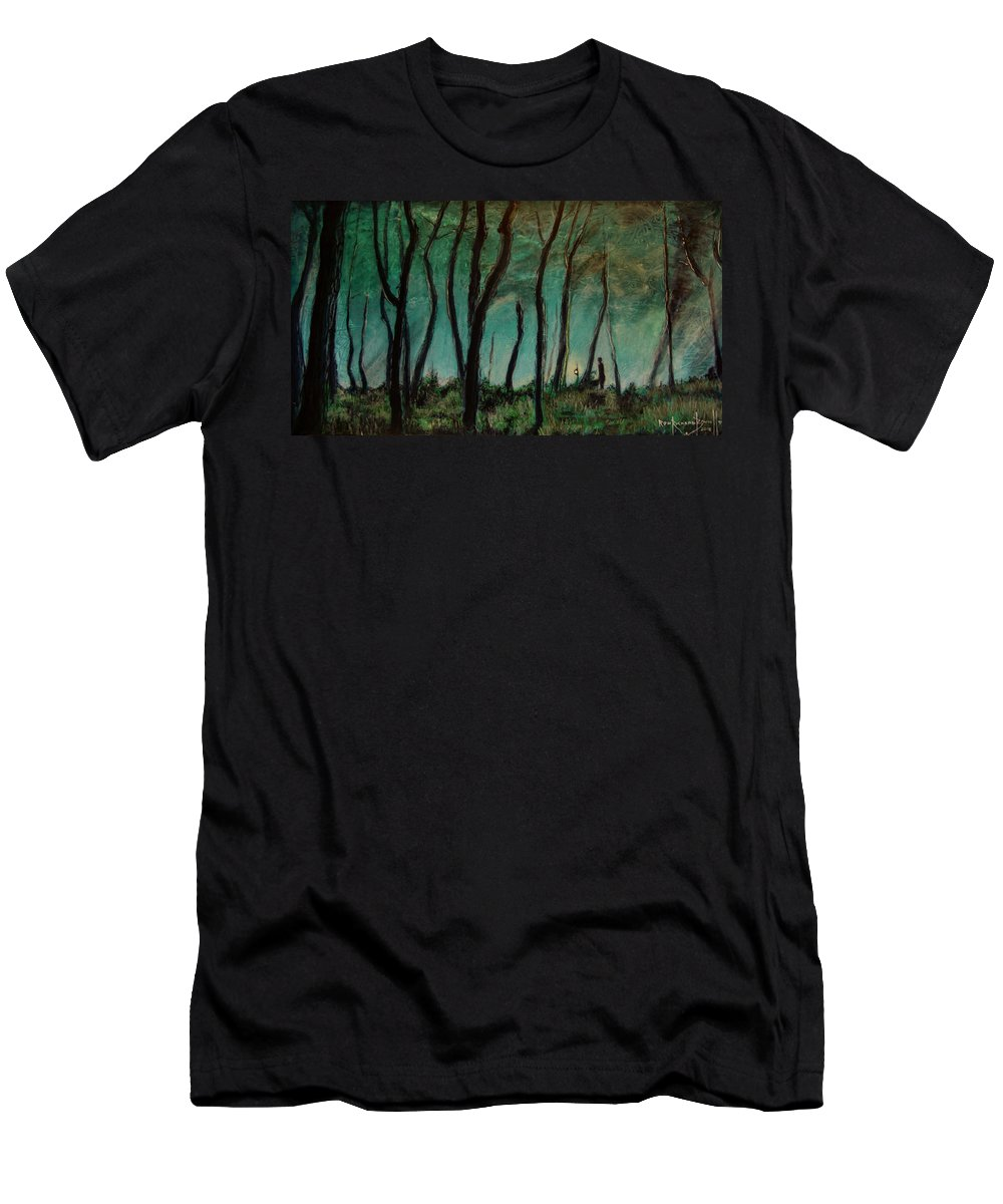 Landscape Men's T-Shirt (Athletic Fit) featuring the painting Night Walk by Ron Richard Baviello
