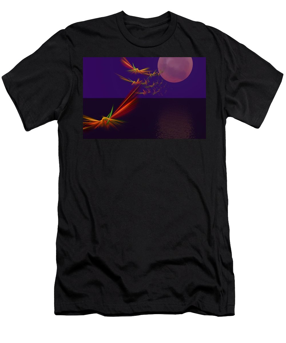 Abstract Digital Photo Men's T-Shirt (Athletic Fit) featuring the digital art Night Wings by David Lane