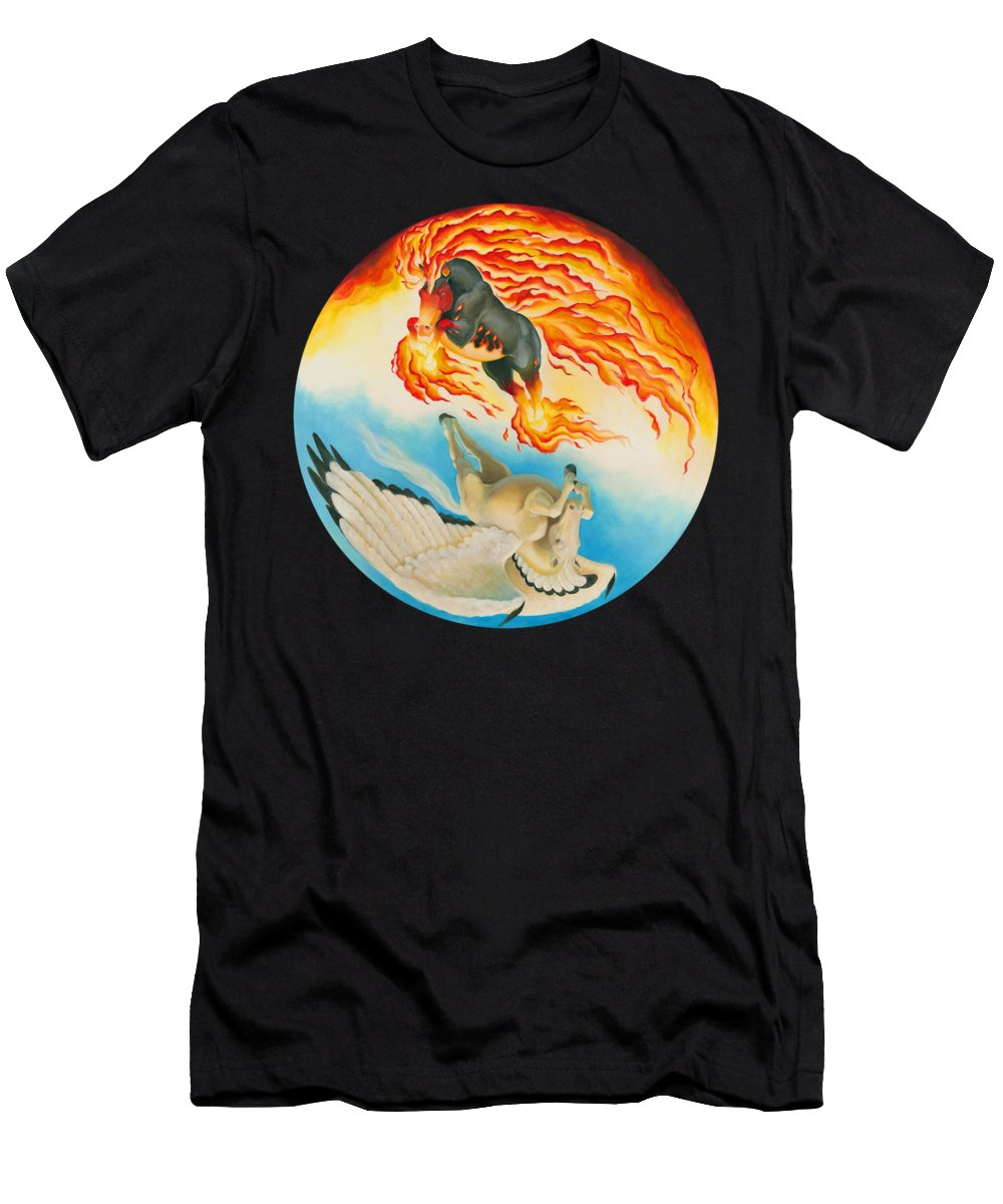 Nightmare T-Shirt featuring the mixed media Nightmare and Mesa Pegasus Yin Yang by Melissa A Benson