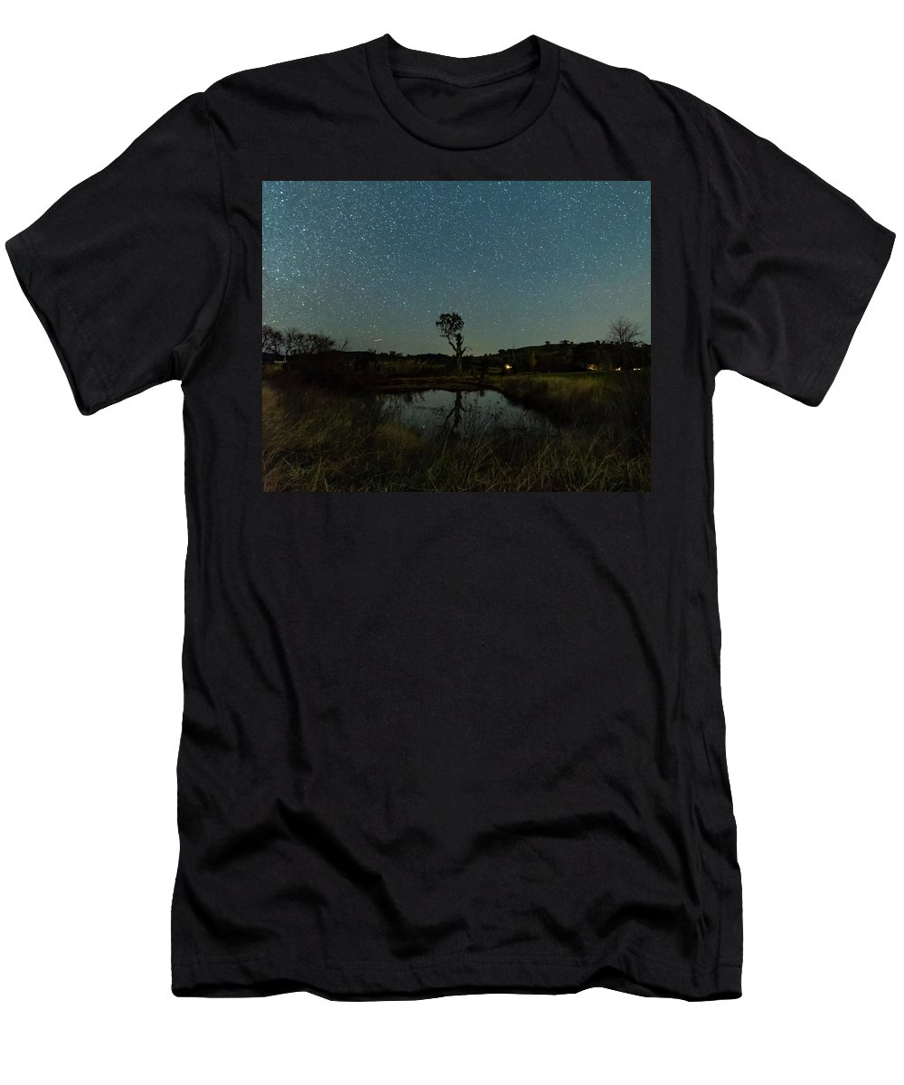 Astro Men's T-Shirt (Athletic Fit) featuring the photograph Nightscape And Dam Landscape by Merrillie Redden