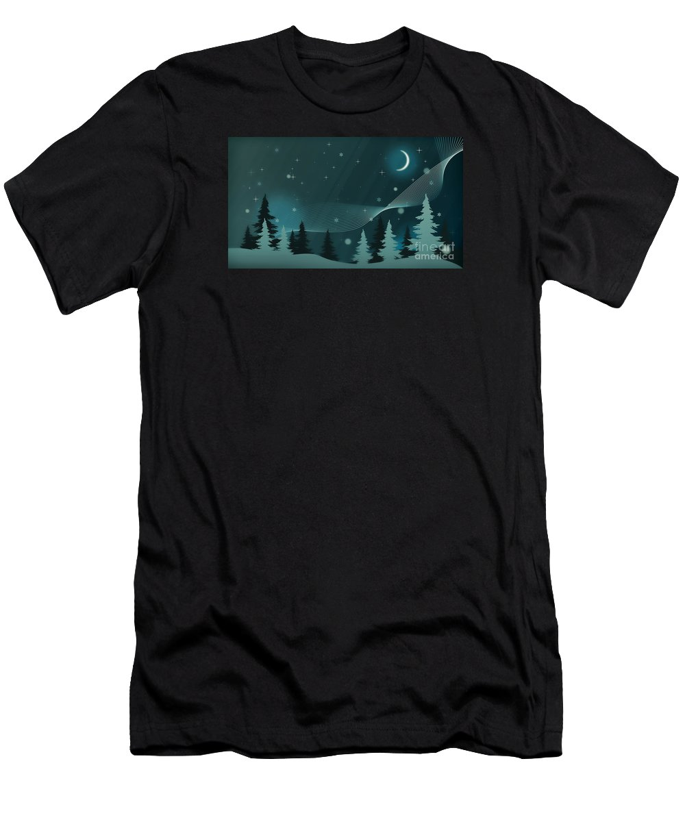 Winter Men's T-Shirt (Athletic Fit) featuring the photograph Nighttime by Sebastien Coell