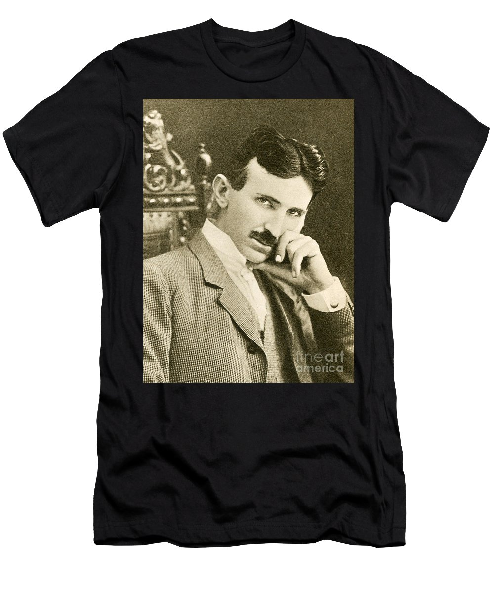 65a55c80 Science Men's T-Shirt (Athletic Fit) featuring the photograph Nikola Tesla,  Serbian