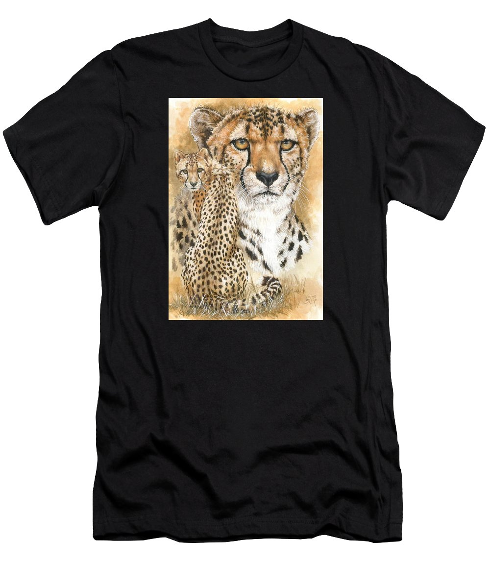 Cheetah Men's T-Shirt (Athletic Fit) featuring the mixed media Nimble by Barbara Keith