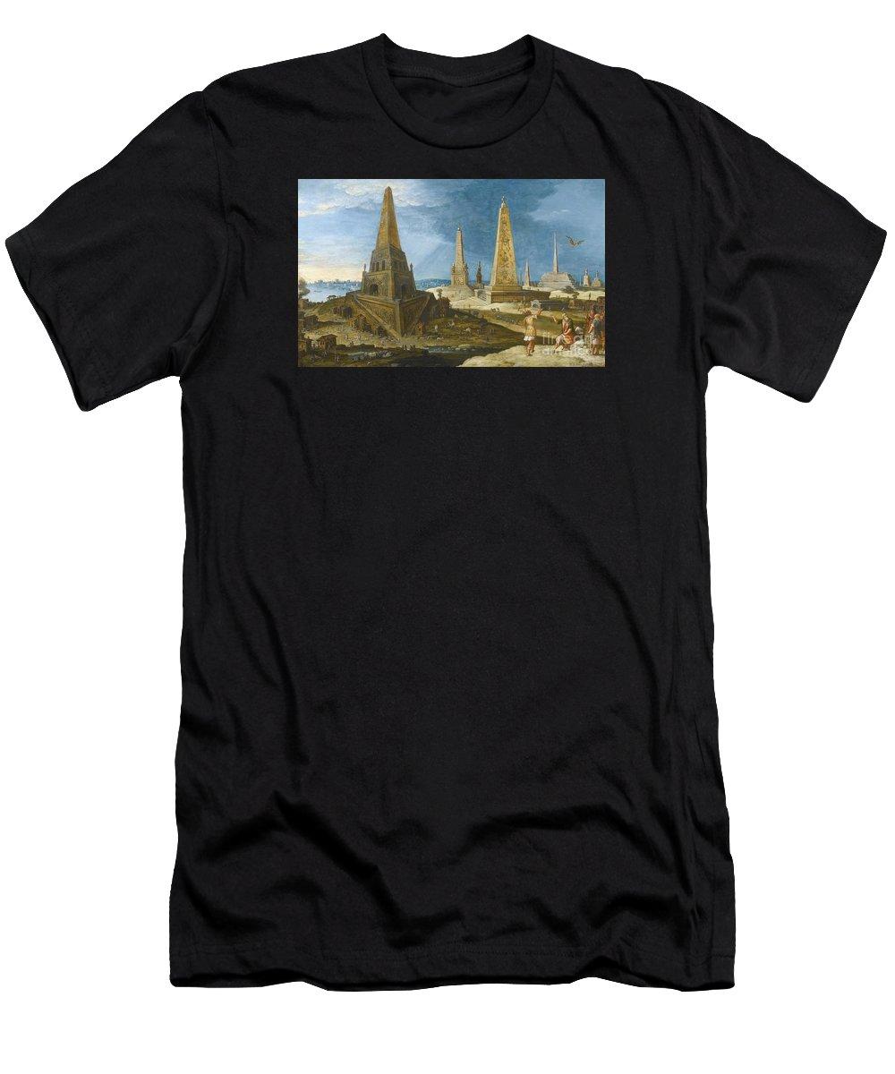 Hendrik Van Cleve Iii Nimrod Amongst The Monuments. Sea Men's T-Shirt (Athletic Fit) featuring the painting Nimrod Amongst The Monuments by MotionAge Designs