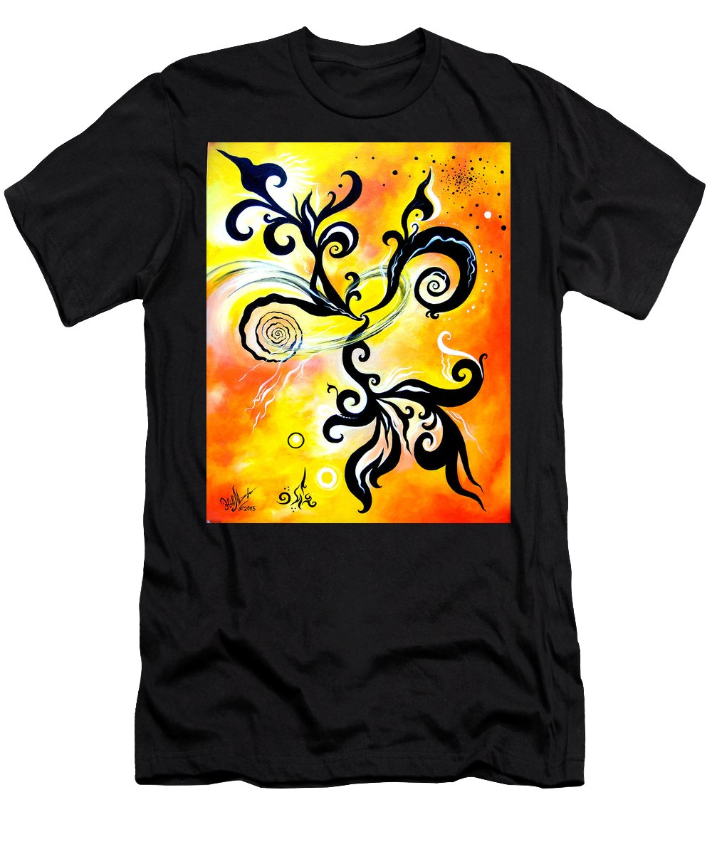 Nirvana Men's T-Shirt (Athletic Fit) featuring the painting Nirvana Zen Yellow Way To Eternity by Sofia Metal Queen