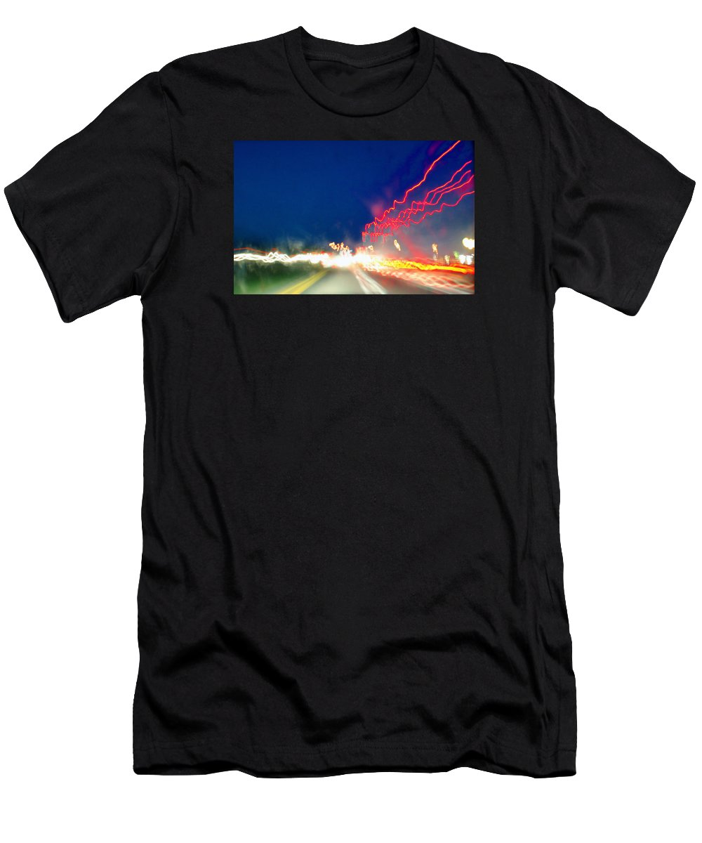 Night Men's T-Shirt (Athletic Fit) featuring the photograph Nite Lites by Pat Turner