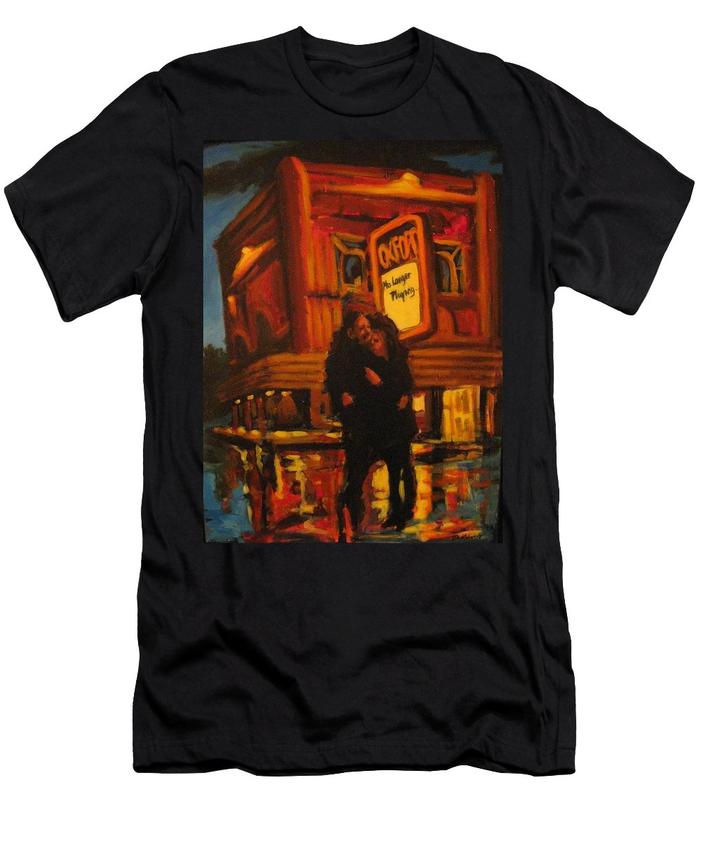 Wet Streets Men's T-Shirt (Athletic Fit) featuring the painting No Longer Playing by John Malone