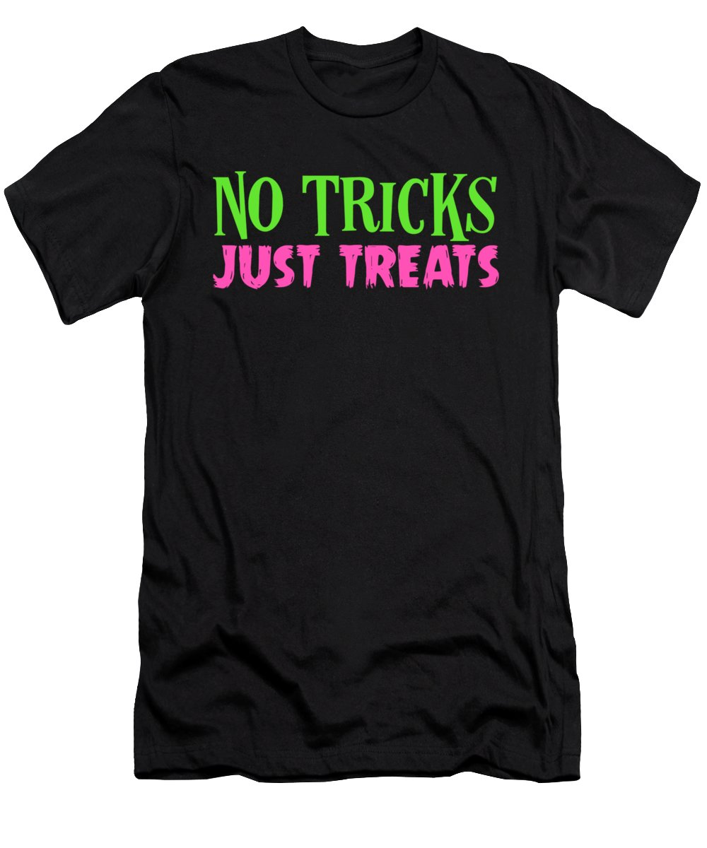 Colorful Men's T-Shirt (Athletic Fit) featuring the drawing No Tricks Just Treats Halloween Funny Humor Love Candy Kids Or Children by Cameron Fulton