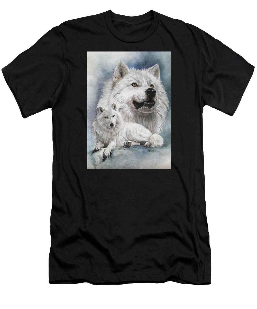 Wolf Men's T-Shirt (Athletic Fit) featuring the mixed media Noble Intensity by Barbara Keith