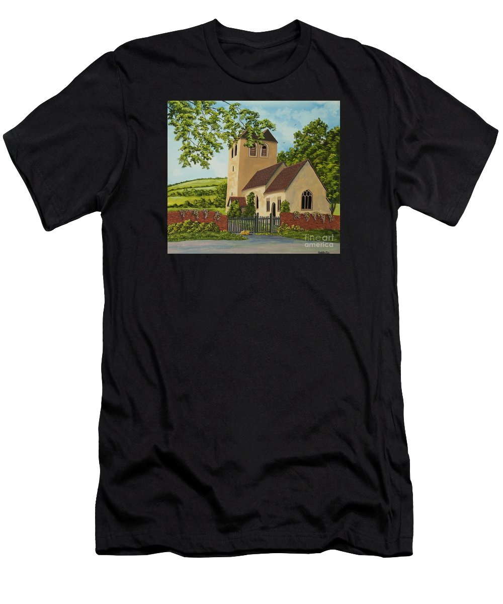Church Men's T-Shirt (Athletic Fit) featuring the painting Norman Church In Fingest by Charlotte Blanchard