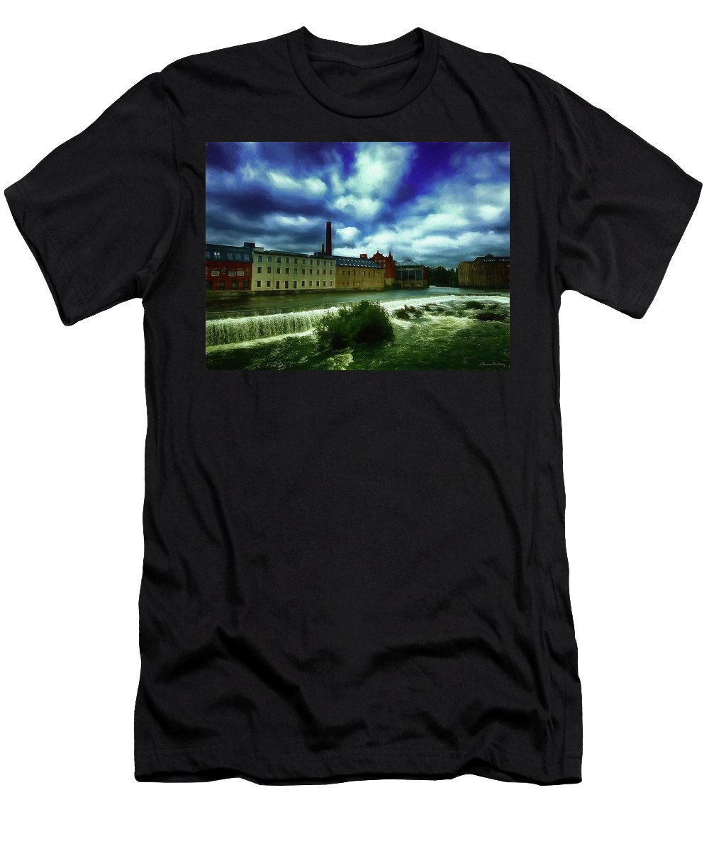 Norrkoping Men's T-Shirt (Athletic Fit) featuring the photograph Norrkoping Waterfall by Ramon Martinez
