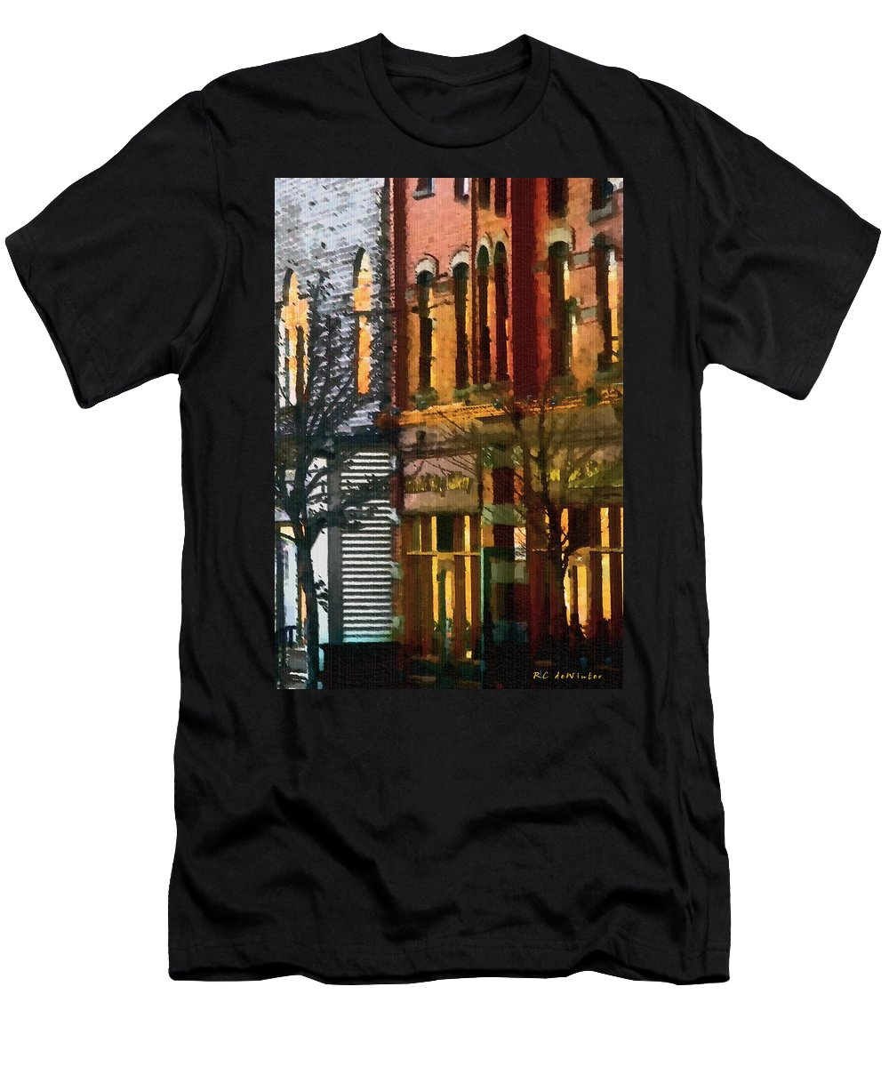 City Men's T-Shirt (Athletic Fit) featuring the painting North End At Night by RC DeWinter