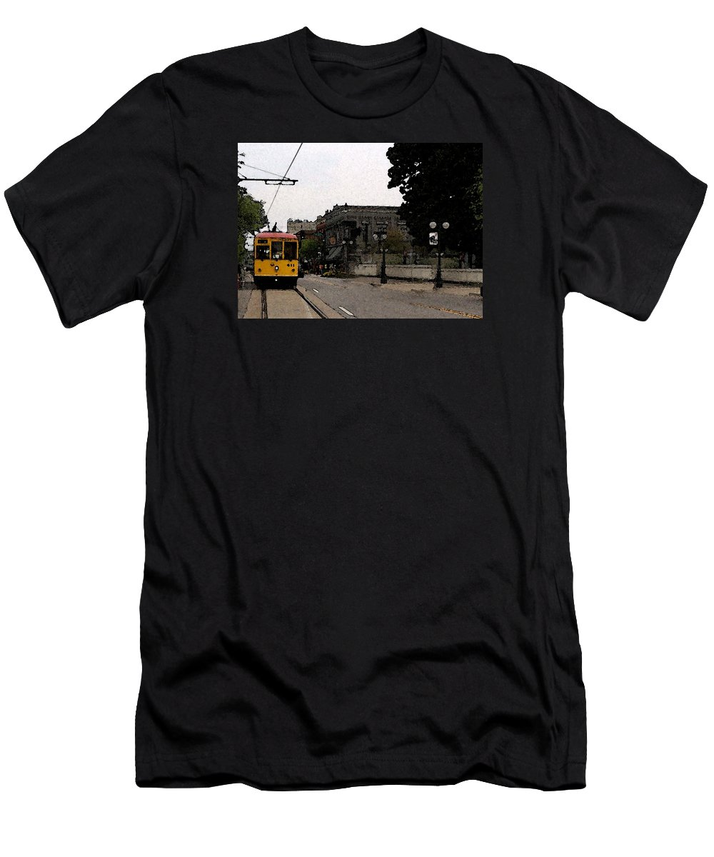 Trolley Men's T-Shirt (Athletic Fit) featuring the digital art North Little Rock Argenta District by David McGhee