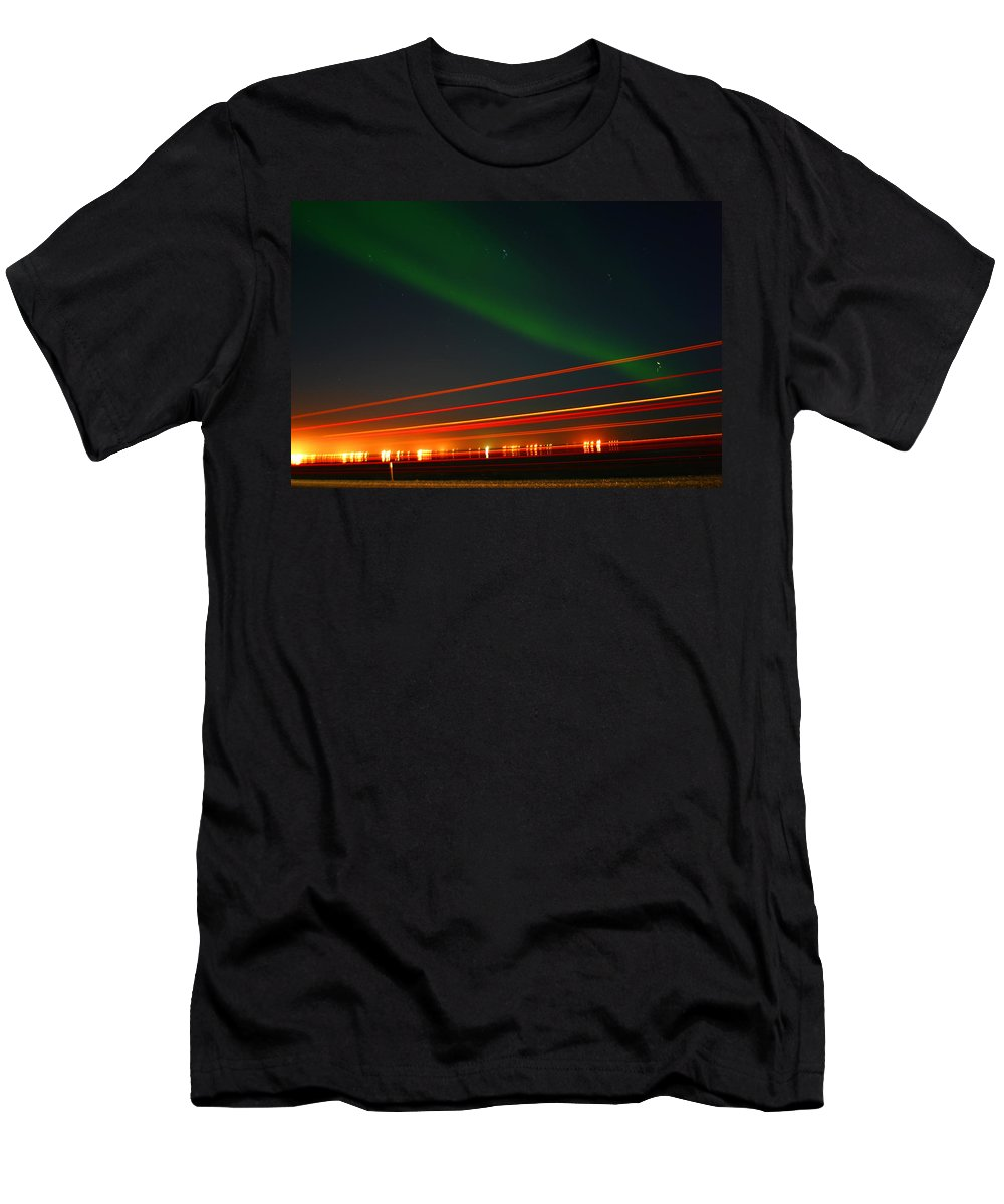 Northern Lights Men's T-Shirt (Athletic Fit) featuring the photograph Northern Lights by Anthony Jones