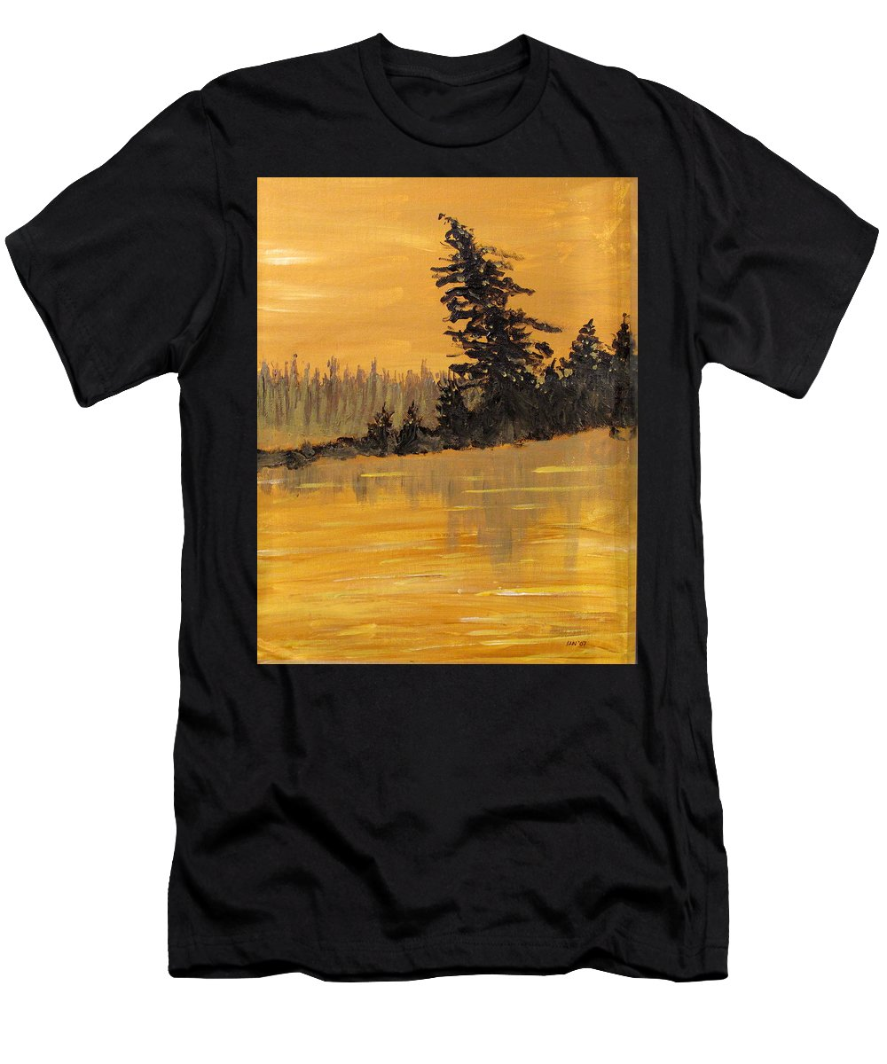 Northern Ontario Men's T-Shirt (Athletic Fit) featuring the painting Northern Ontario Three by Ian MacDonald