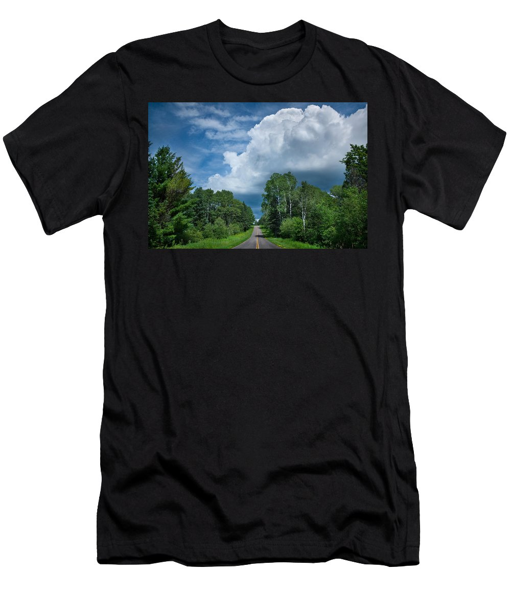 Cloud Men's T-Shirt (Athletic Fit) featuring the photograph Northwoods Road Trip by Steve Gadomski