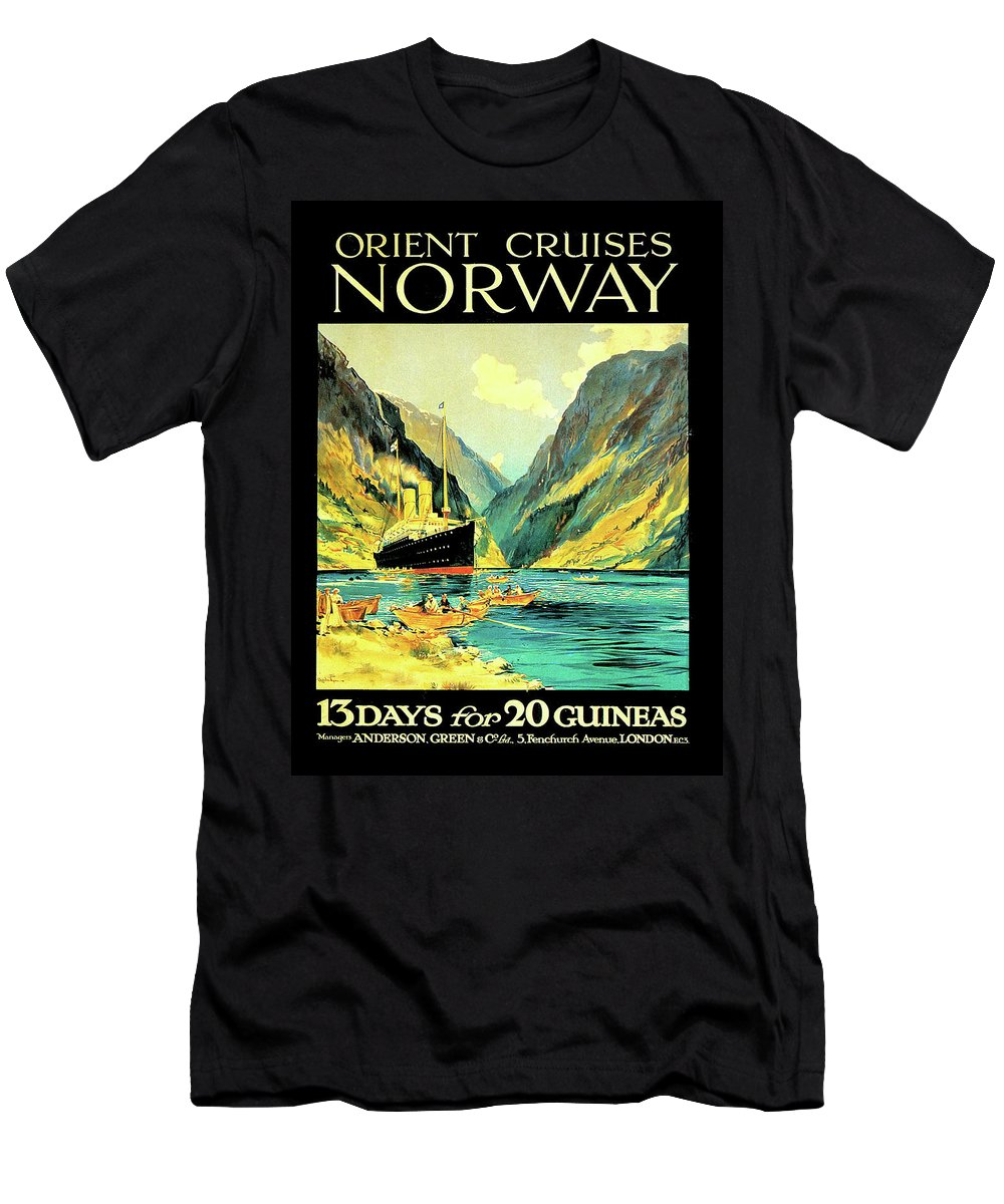 Norway Men's T-Shirt (Athletic Fit) featuring the digital art Norway Orient Cruises, Vintage Travel Poster by Long Shot
