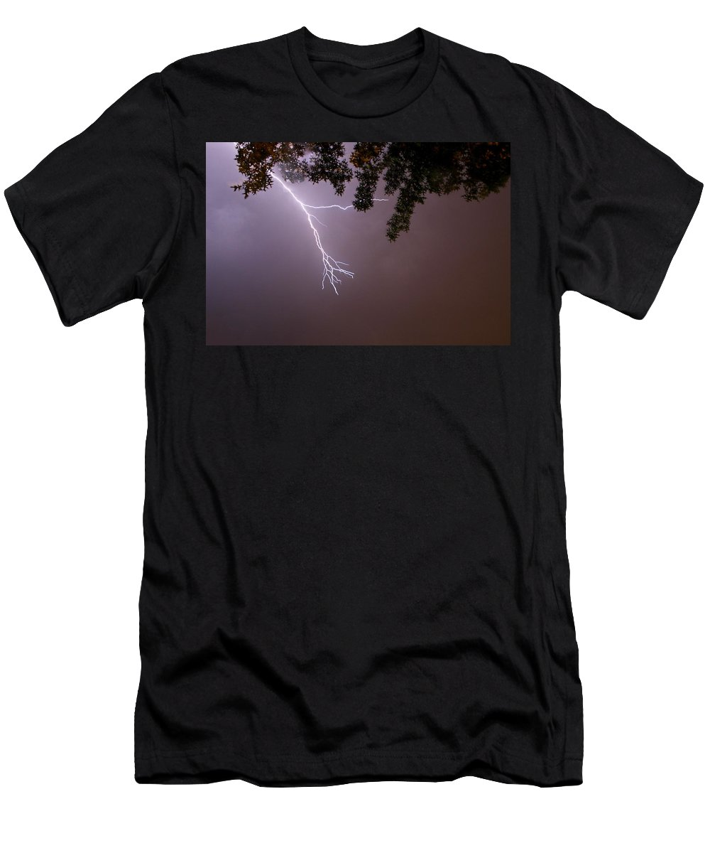 Lightning Men's T-Shirt (Athletic Fit) featuring the photograph Not Quite A Strike by Shoeless Wonder