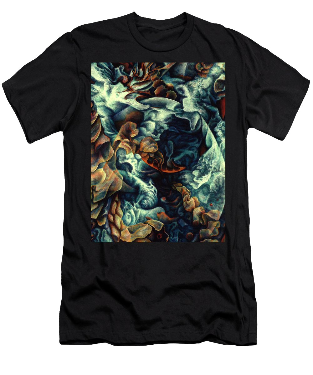 Spiritual Paintings Men's T-Shirt (Athletic Fit) featuring the painting Nothing And Everything by Nad Wolinska