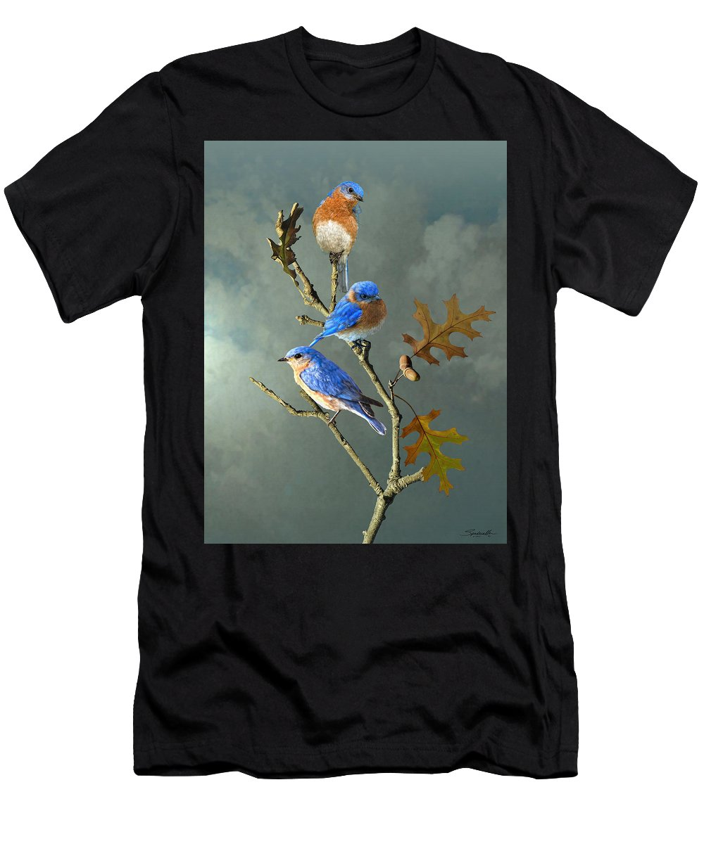 Birds Men's T-Shirt (Athletic Fit) featuring the digital art Nothing But Bluebirds by IM Spadecaller