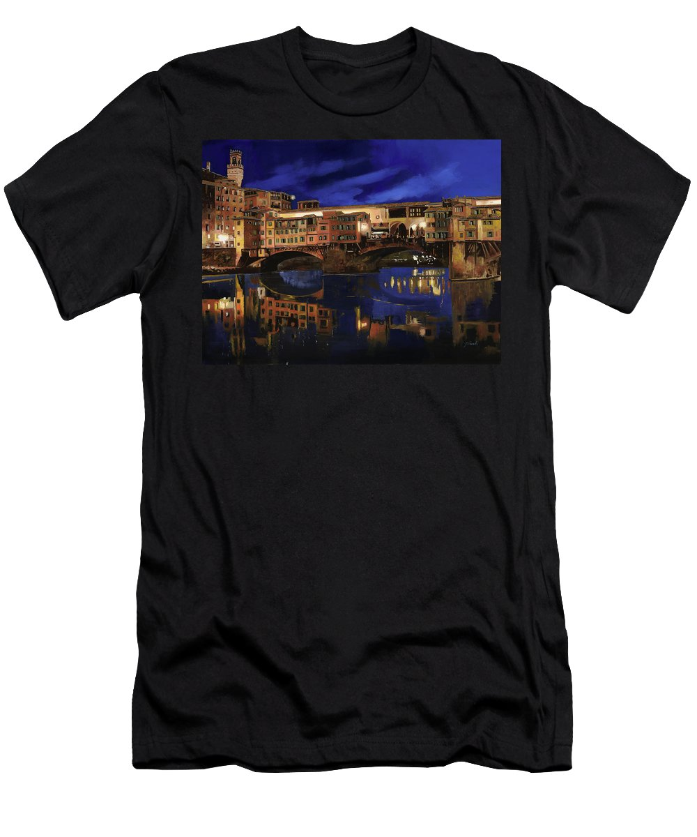 Firenze Men's T-Shirt (Athletic Fit) featuring the painting Notturno Fiorentino by Guido Borelli