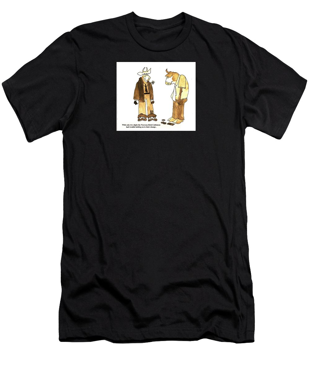 Beef Cartoon Men's T-Shirt (Athletic Fit) featuring the painting Nouveau Riche Cowman by Larry Campbell