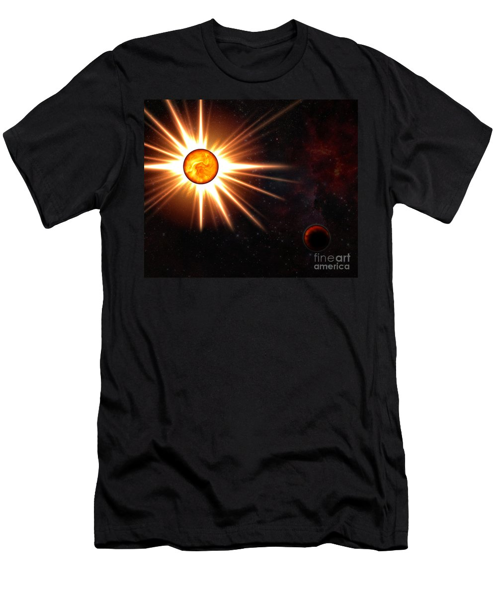 Nova Men's T-Shirt (Athletic Fit) featuring the digital art Nova And Dead Star by Michal Boubin
