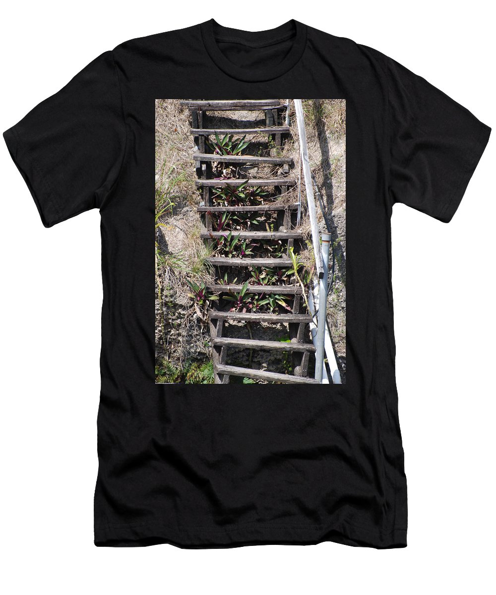 Stairs Men's T-Shirt (Athletic Fit) featuring the photograph Nowhere Stairs by Rob Hans