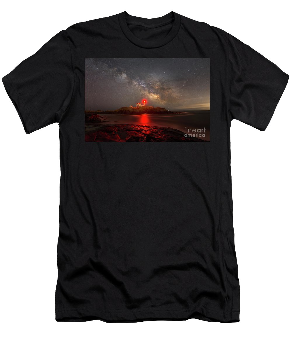 Nubble Lighthouse Men's T-Shirt (Athletic Fit) featuring the photograph Nubble Light Milky Way Rising by Michael Ver Sprill