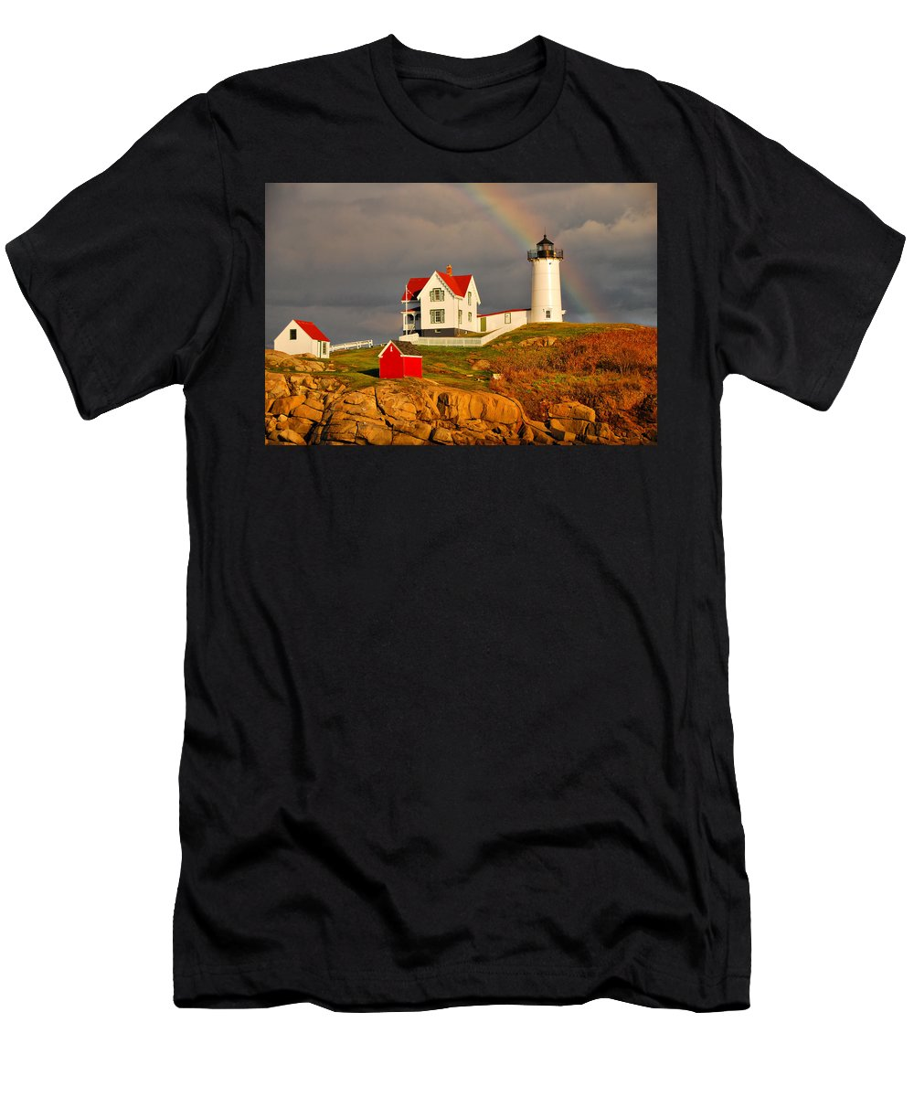 Lighthouse Men's T-Shirt (Athletic Fit) featuring the photograph Nubble Lighthouse by Cliff Nixon