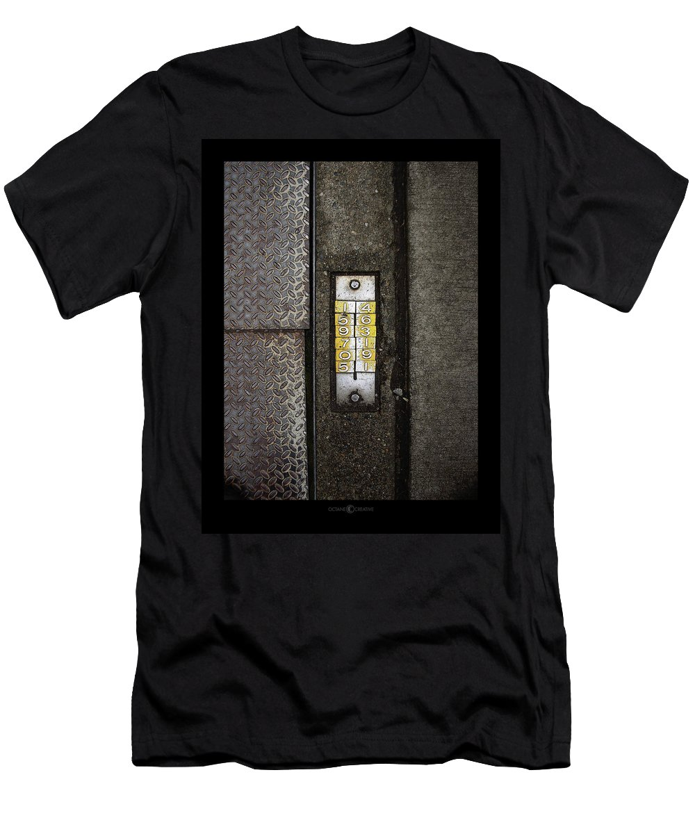 Numbers Men's T-Shirt (Athletic Fit) featuring the photograph Numbers On The Sidewalk by Tim Nyberg