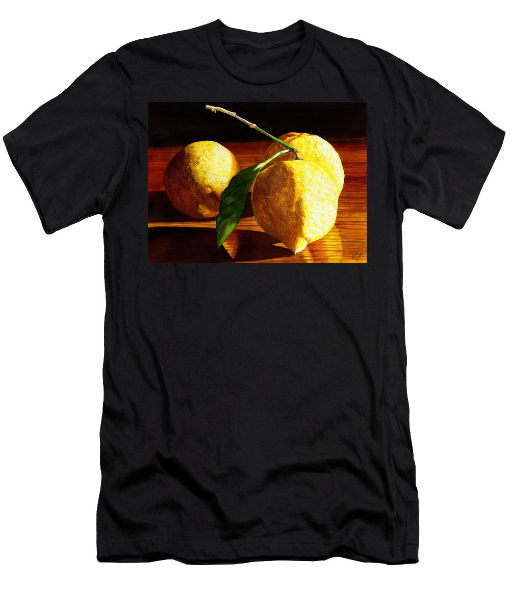 Lemon Men's T-Shirt (Athletic Fit) featuring the painting Nurse Beckys Lemons by Catherine G McElroy
