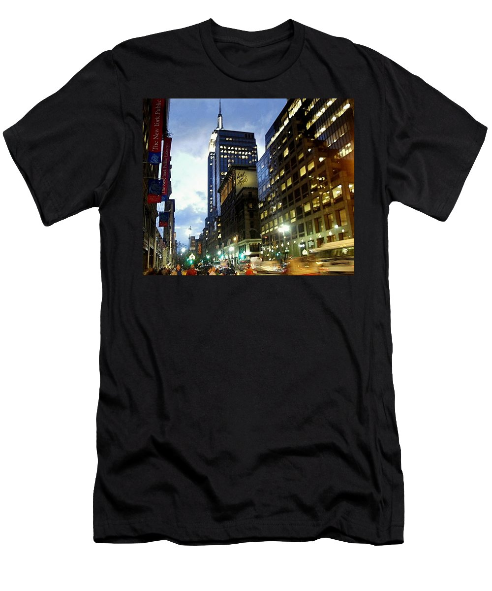 Cityscape Men's T-Shirt (Athletic Fit) featuring the photograph Nyc Fifth Ave by Vannetta Ferguson