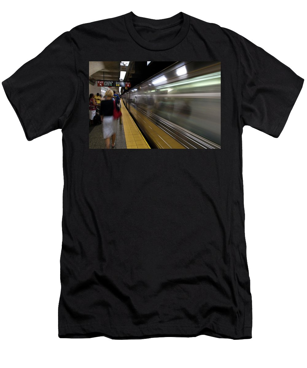 Broadway Men's T-Shirt (Athletic Fit) featuring the photograph Nyc Subway by Sebastian Musial