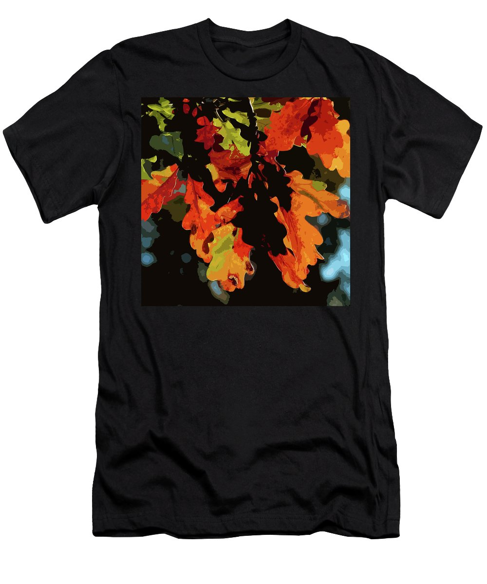 Oak Leaves Men's T-Shirt (Athletic Fit) featuring the photograph Oak Leaves In Autumn by James Hill