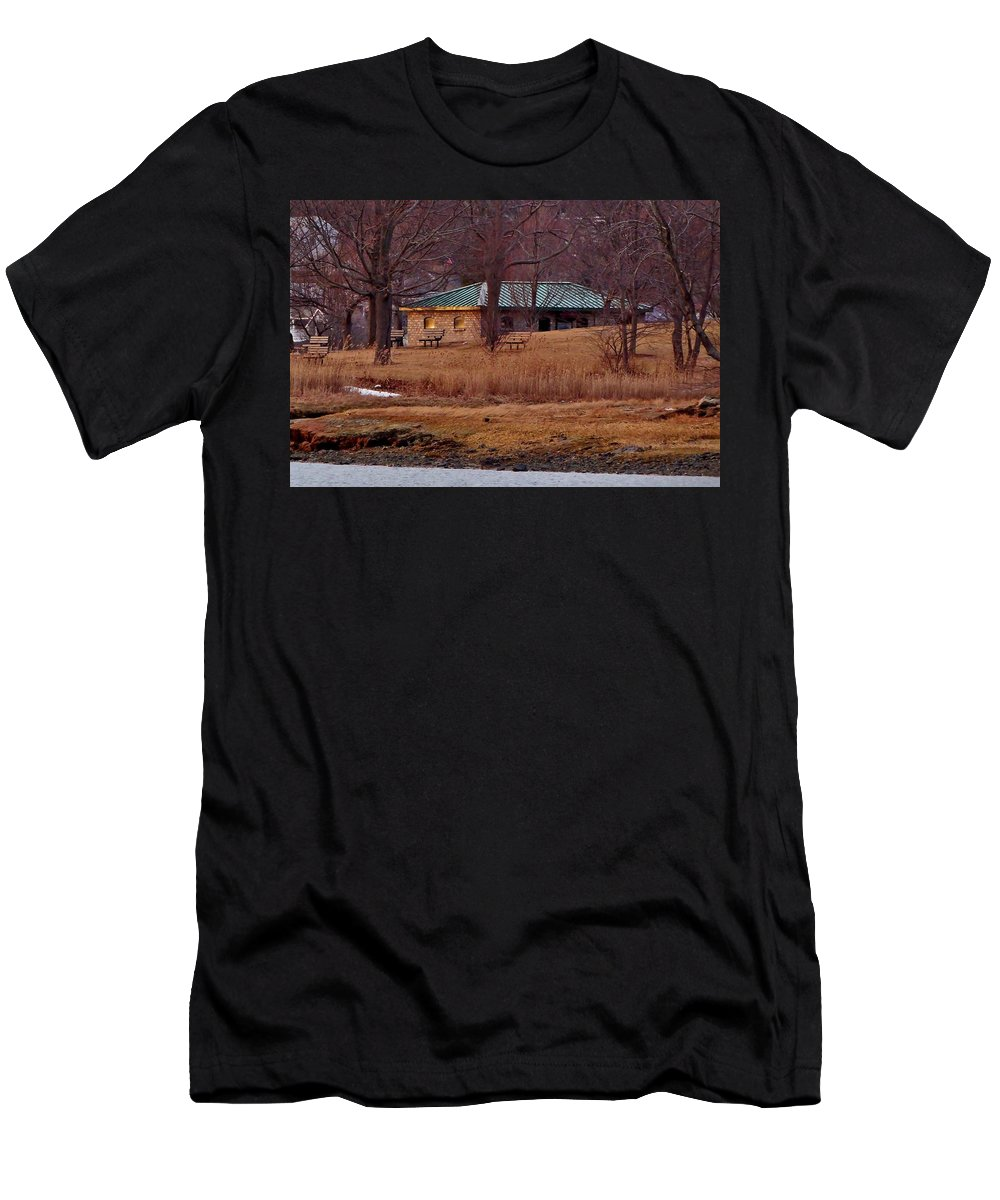 River Men's T-Shirt (Athletic Fit) featuring the photograph Obear Park At Sunset In Winter by Scott Hufford