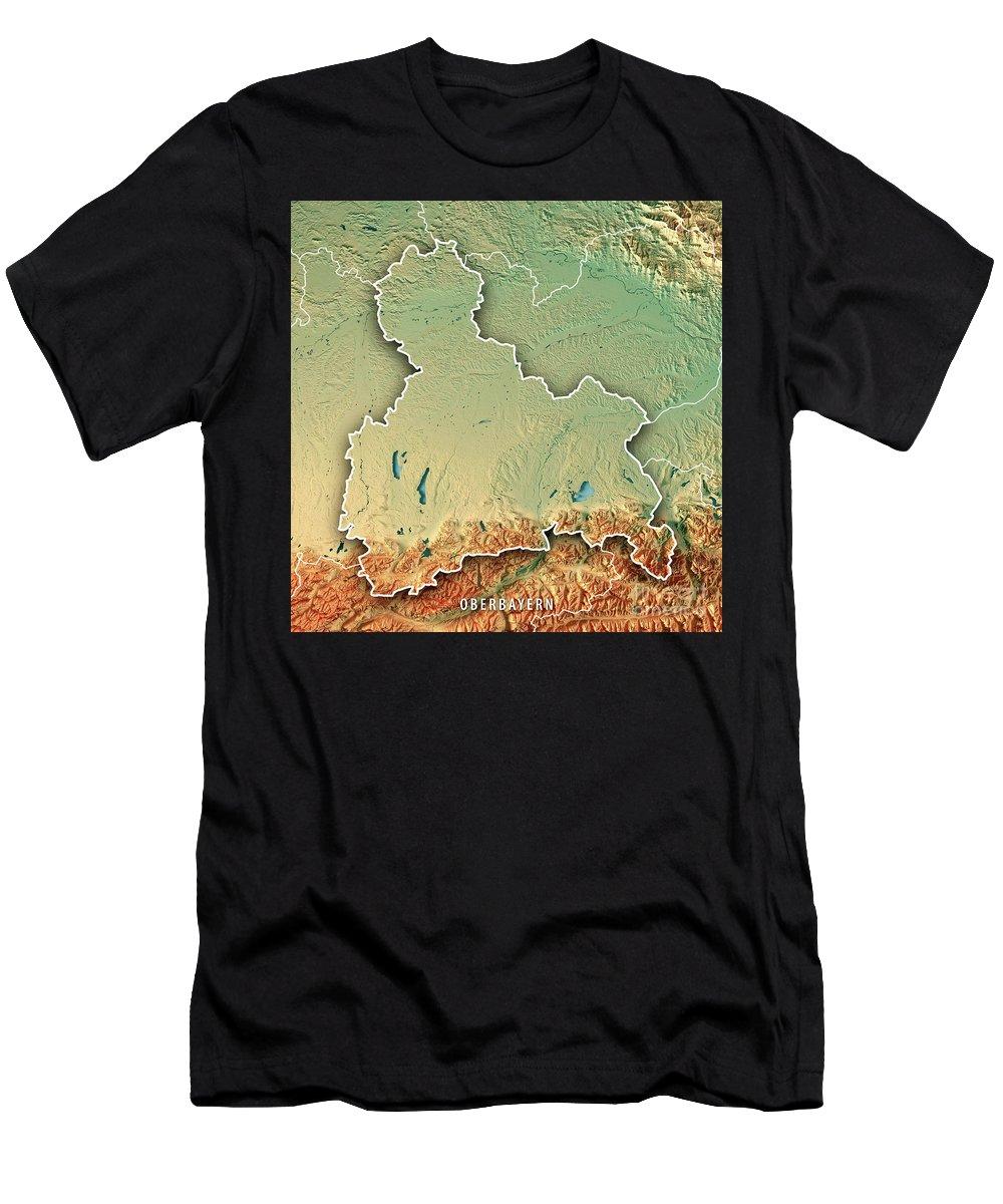Oberbayern Men's T-Shirt (Athletic Fit) featuring the digital art Oberbayern Regierungsbezirk Bayern 3d Render Topographic Map Bor by Frank Ramspott