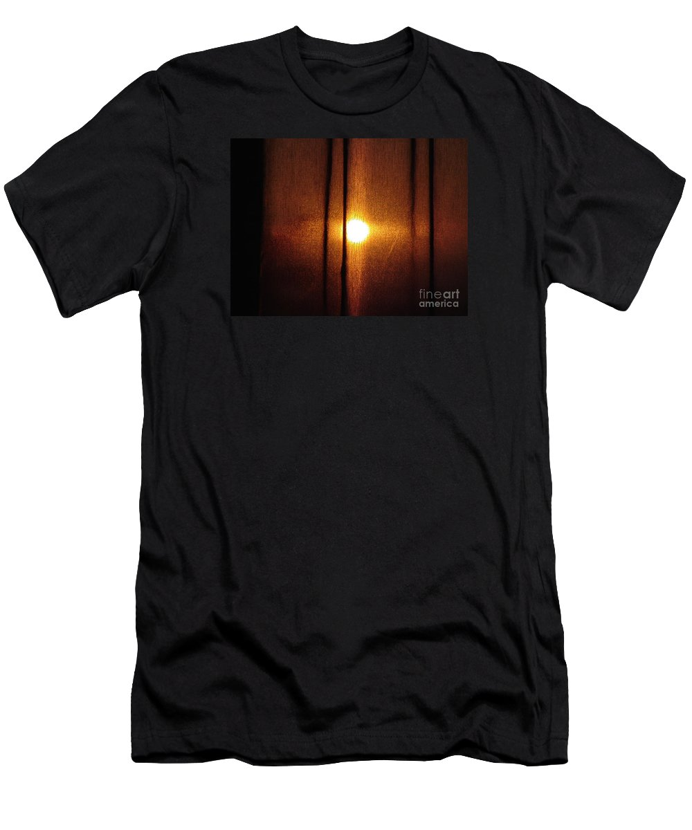 Sunset Men's T-Shirt (Athletic Fit) featuring the photograph Obscured Sunset by Cassandra Geernaert