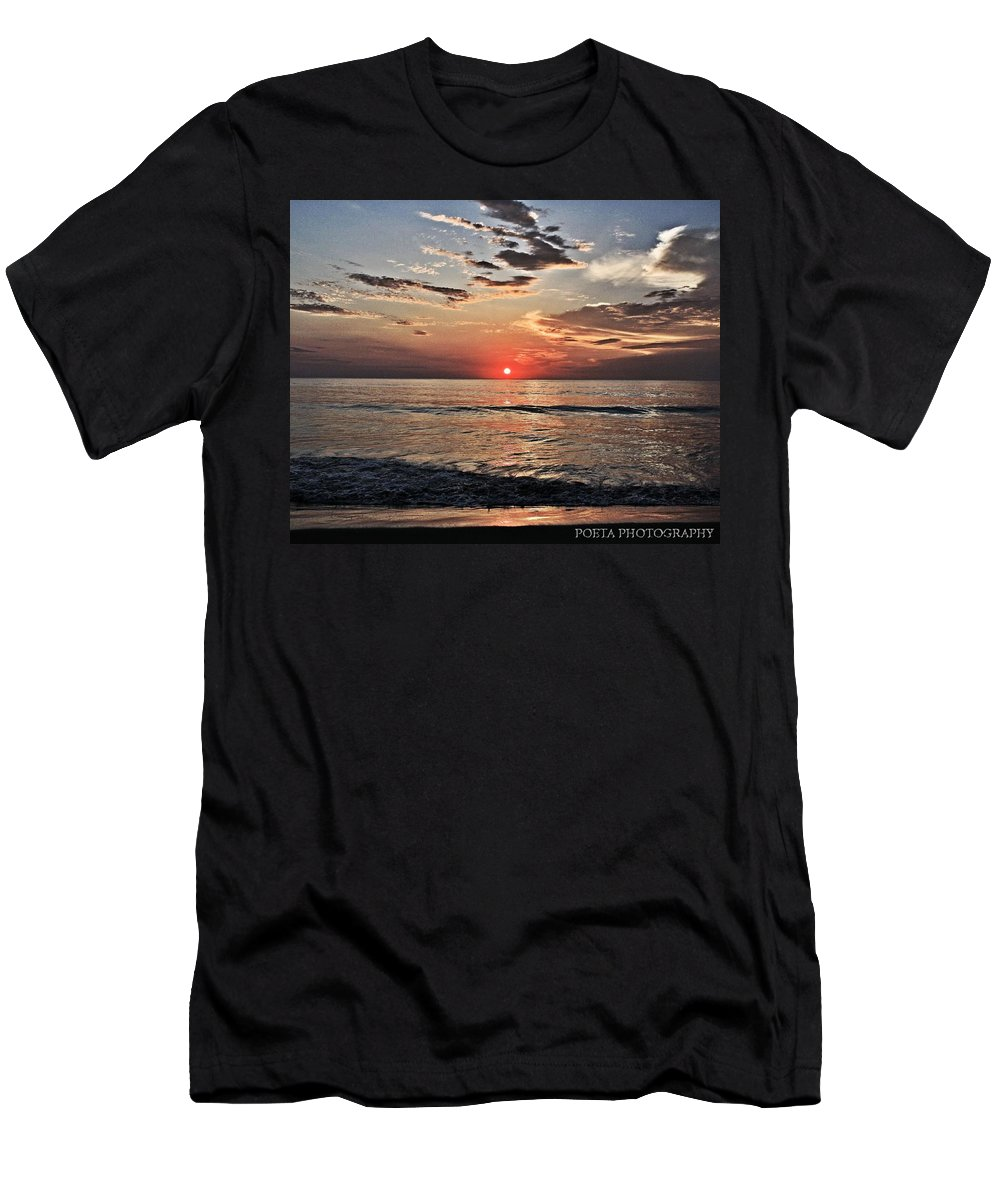 Outer Banks Men's T-Shirt (Athletic Fit) featuring the photograph Obx Sunrise by Joshua Poeta