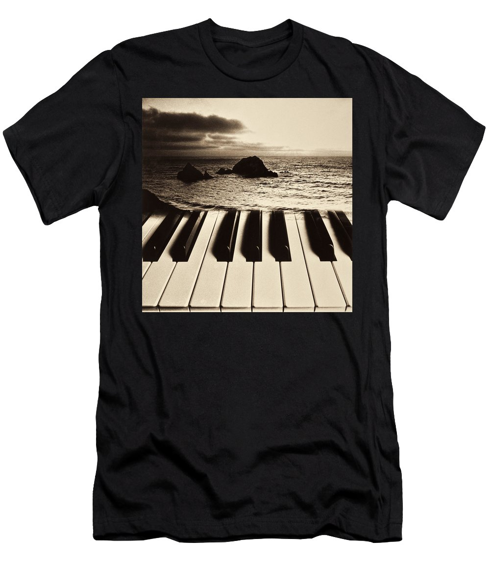 Ocean Men's T-Shirt (Athletic Fit) featuring the photograph Ocean Washing Over Keyboard by Garry Gay