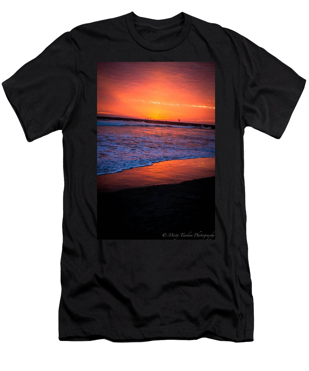 Oceanside Men's T-Shirt (Athletic Fit) featuring the photograph Oceanside Sunset by Misty Tienken