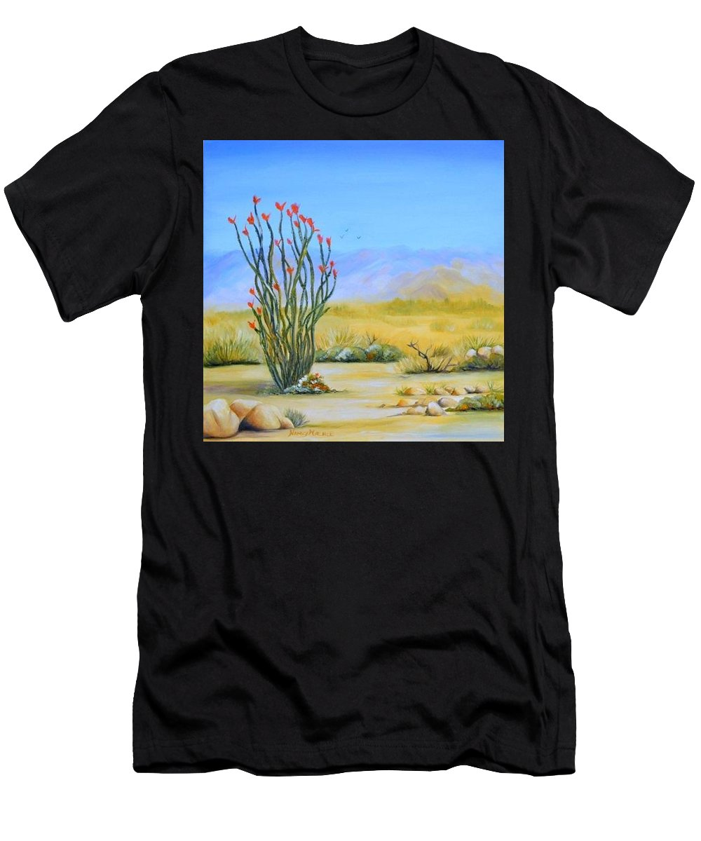 Ocotillo Men's T-Shirt (Athletic Fit) featuring the painting Ocotillo In The Park by Nancy Miehle