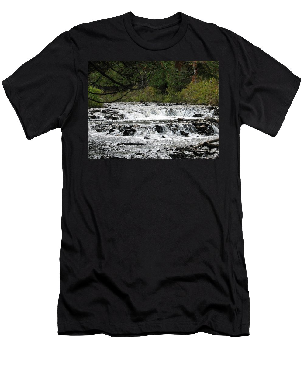 Waterfall Men's T-Shirt (Athletic Fit) featuring the photograph Ocqueoc by Kelly Mezzapelle