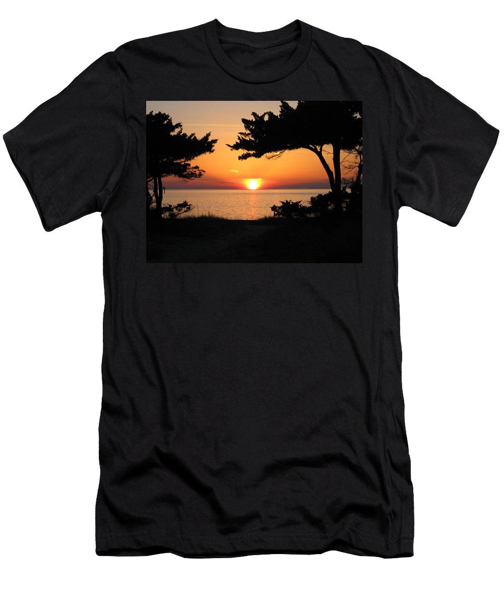 Ocracoke Men's T-Shirt (Athletic Fit) featuring the photograph Ocracoke Island Winter Sunset by Wayne Potrafka