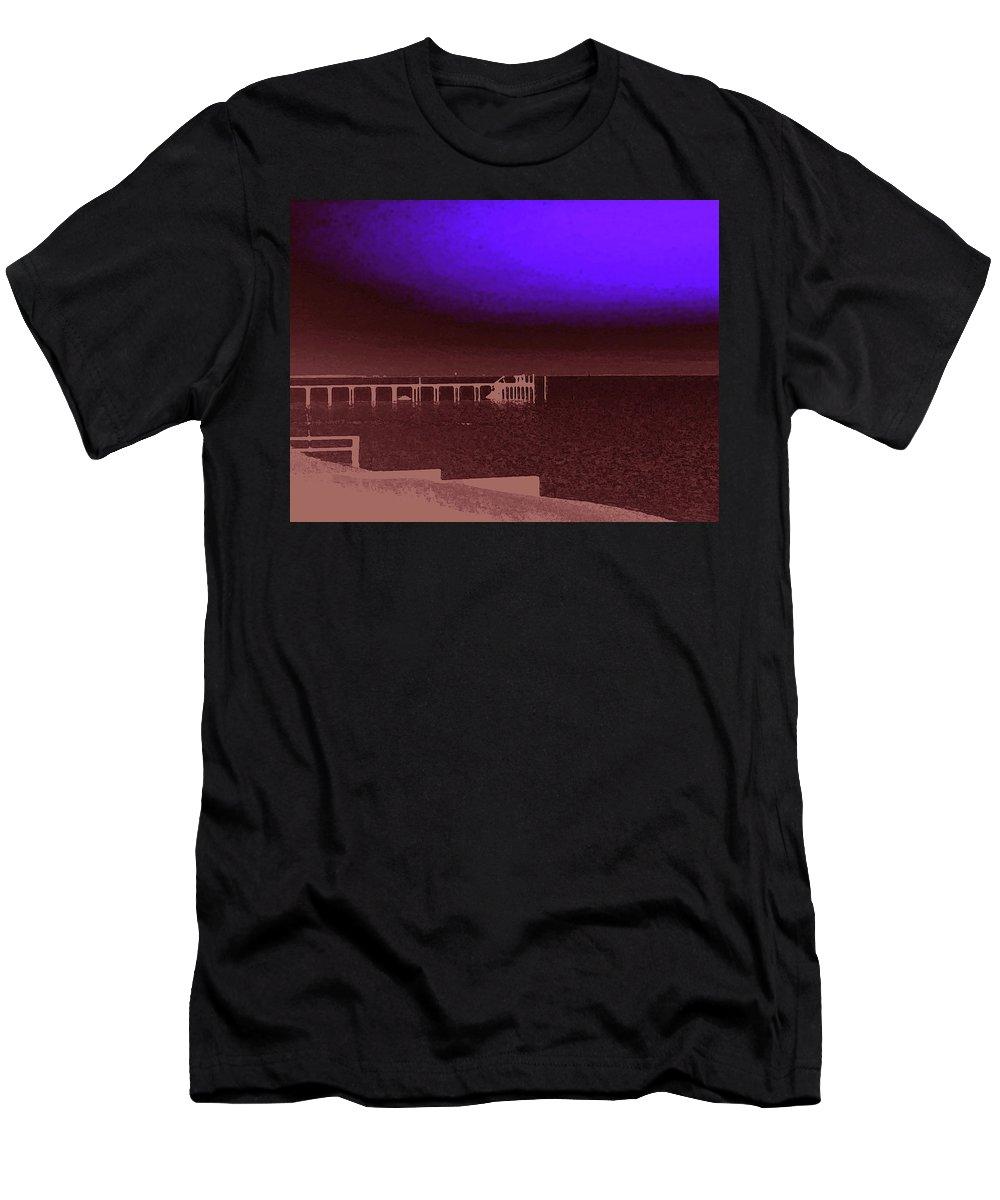Ocracoke Men's T-Shirt (Athletic Fit) featuring the photograph Ocracoke Shoreline Pier by Wayne Potrafka
