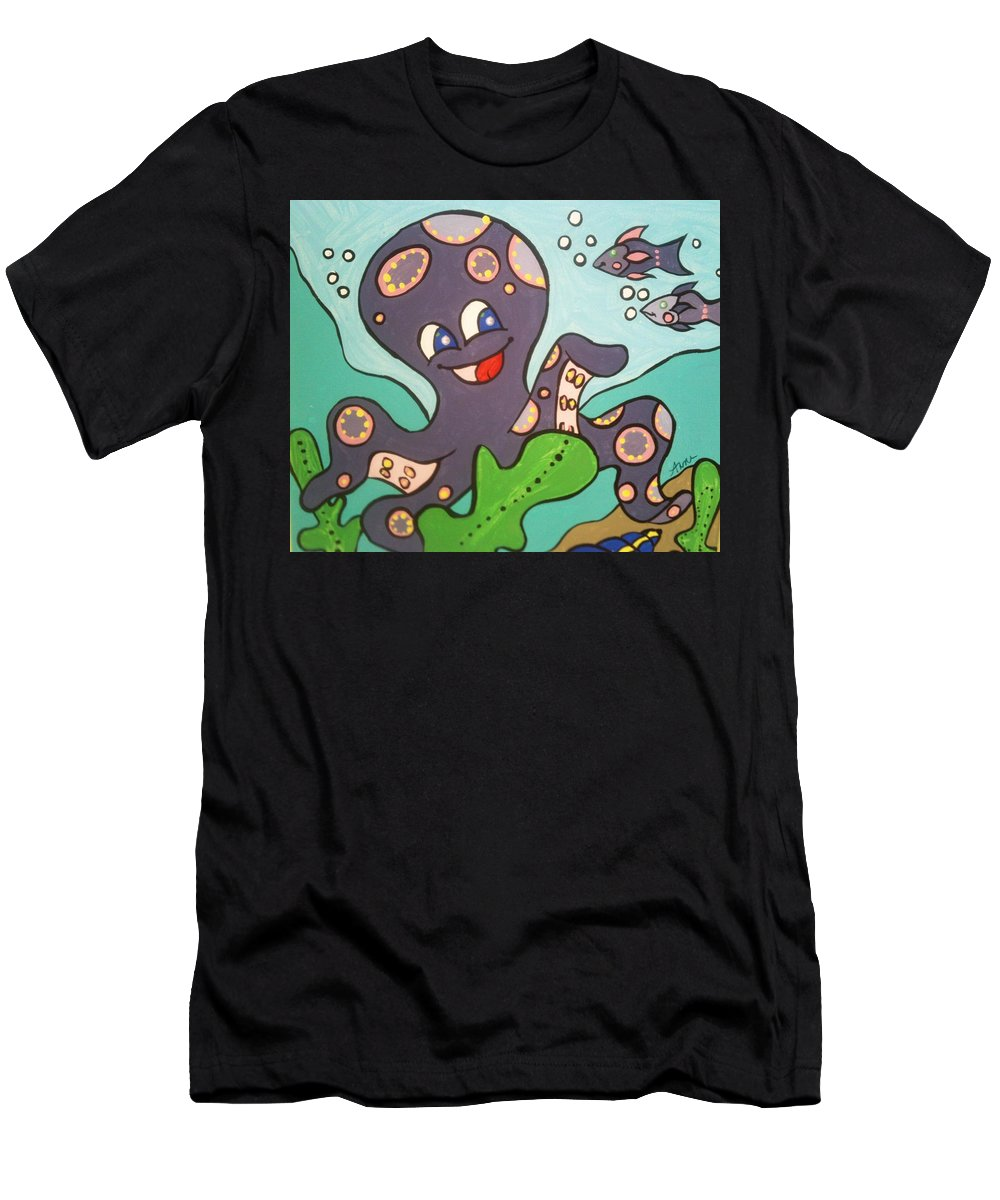 Octopus Men's T-Shirt (Athletic Fit) featuring the painting Octo #1 by Anne Robinson