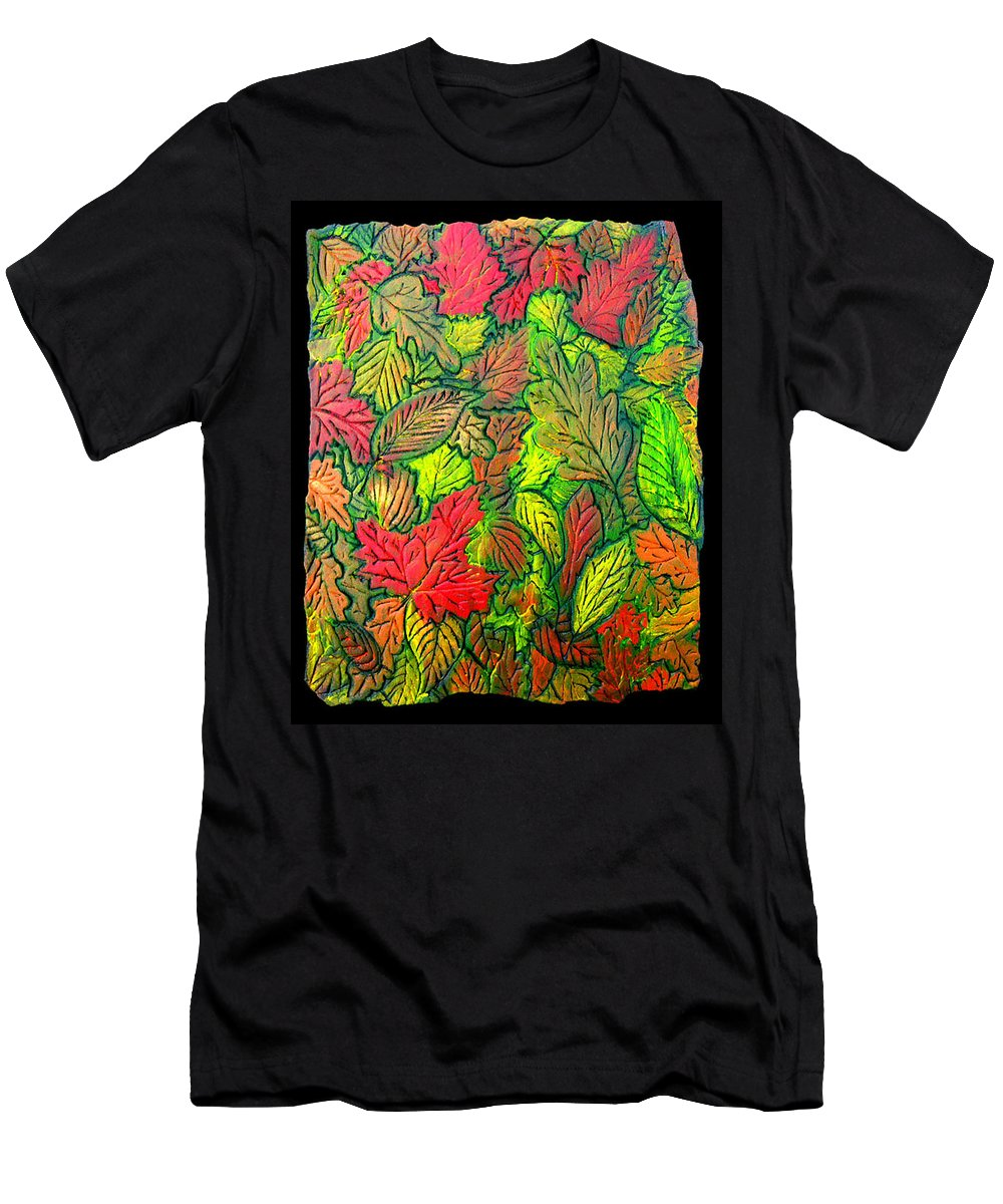 Leaves Men's T-Shirt (Athletic Fit) featuring the painting October 21st. by Wayne Potrafka