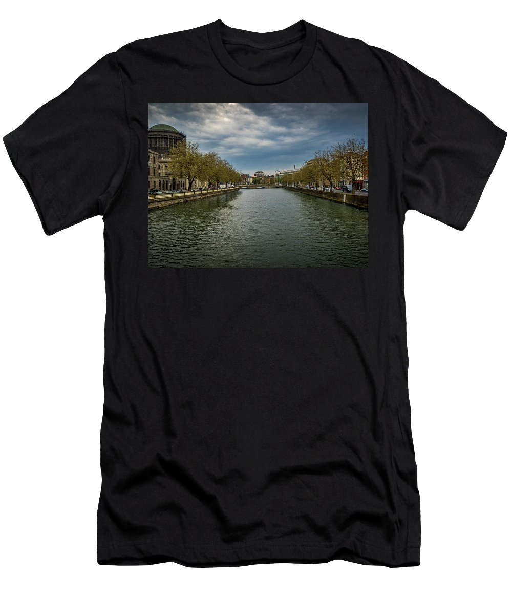 Dublin Men's T-Shirt (Athletic Fit) featuring the photograph O'donovan Rossa Bridge by Mark Llewellyn