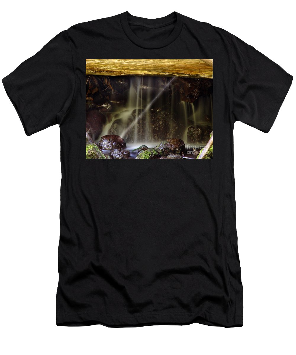 Water Trickle Men's T-Shirt (Athletic Fit) featuring the photograph Of Light And Mist by Peter Piatt