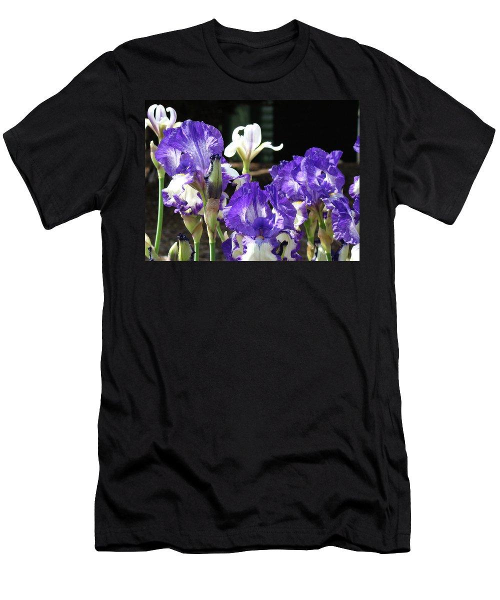 Iris Men's T-Shirt (Athletic Fit) featuring the photograph Office Art Prints Iris Flower Botanical Landscape 30 Giclee Prints Baslee Troutman by Baslee Troutman